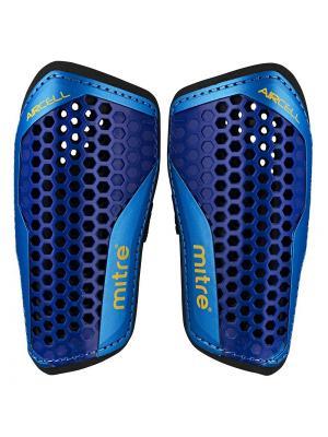 Щитки футбольные MITRE Aircell Carbon Slip без голеностопа. Цвет: темно-синий, голубой, черный