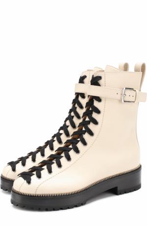 Кожаные ботинки на шнуровке Sergio Rossi. Цвет: кремовый