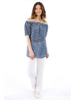 Блузка PRIZZARO. Цвет: синий, белый