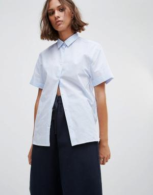 Wood Рубашка с короткими рукавами Eleni. Цвет: синий