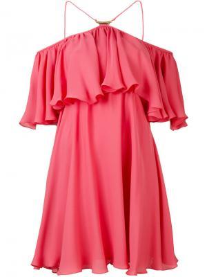 Платье шифт с оборками Plein Sud. Цвет: розовый и фиолетовый