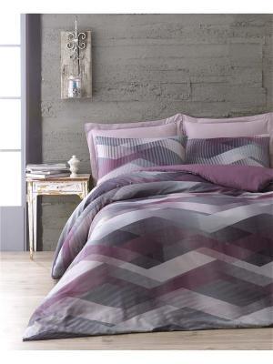 Комплект постельного белья HELIX mor/purple/пурпурный сатин, 200ТС, 100% хлопок, евро ISSIMO Home. Цвет: сиреневый