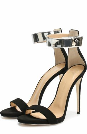 Замшевые босоножки с ремешком на щиколотке Giuseppe Zanotti Design. Цвет: черный
