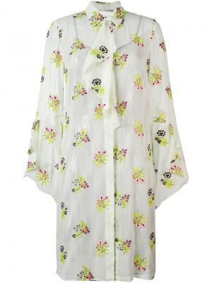 Платье-рубашка с цветочным принтом Marco De Vincenzo. Цвет: зелёный