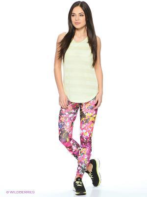 Леггинсы Wo Longt Flower Adidas. Цвет: синий, розовый, желтый, белый