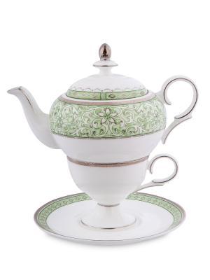 Чайный набор Соло Аделины (Pavone) Pavone. Цвет: белый, салатовый