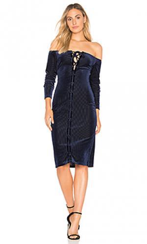 Бархатное платье миди dress Privacy Please. Цвет: синий