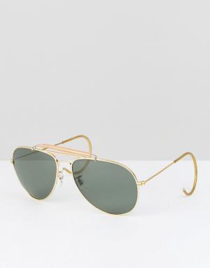 Reclaimed Vintage Солнцезащитные очки-авиаторы в золотистой оправе Ins. Цвет: золотой