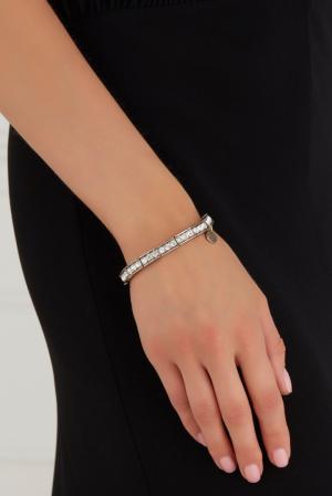 Браслет из латуни с кристаллами Swarovski Philippe Audibert. Цвет: серебряный