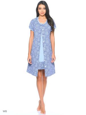 Комплект домашней одежды ( халат, ночные сорочки) HomeLike. Цвет: серо-голубой