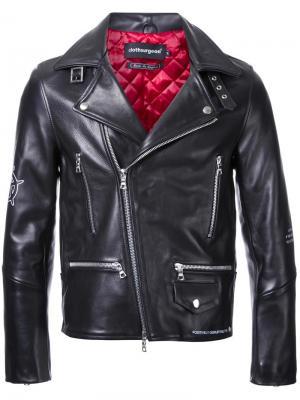 Байкерская куртка с графическим принтом Clothsurgeon. Цвет: чёрный
