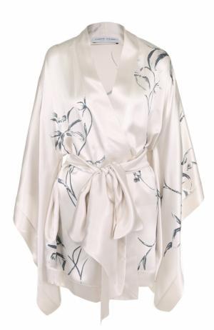 Шелковый халат с поясом и принтом Carine Gilson. Цвет: бежевый