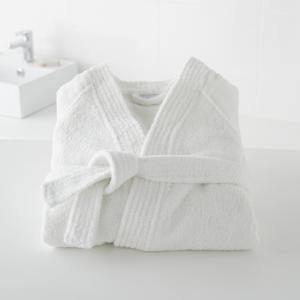 Халат с воротинком-кимоно 450 г/м², качество Best La Redoute Interieurs. Цвет: белый,светло-синий