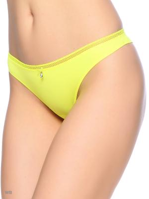 Трусы женские стринги Cascatto. Цвет: светло-желтый, золотистый