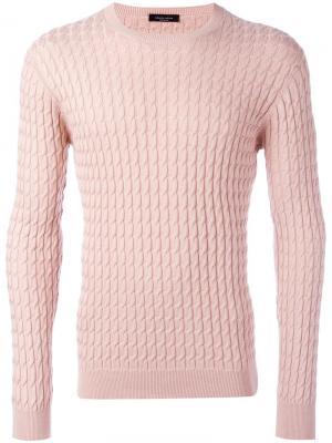 Джемпер вязки косичка Roberto Collina. Цвет: розовый и фиолетовый