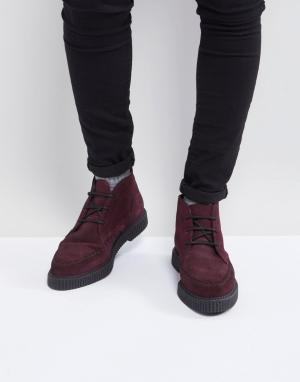 ASOS Бордовые замшевые ботинки-криперы на шнуровке. Цвет: красный