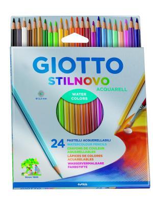 Giotto stilnovo acquarell ast 24 цв,цветные гексагональные акварельные карандаши цвета FILA. Цвет: синий, белый, желтый
