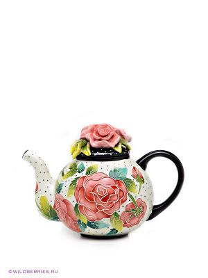 Заварочный чайник Розы Blue Sky. Цвет: черный (осн.), белый (осн.)
