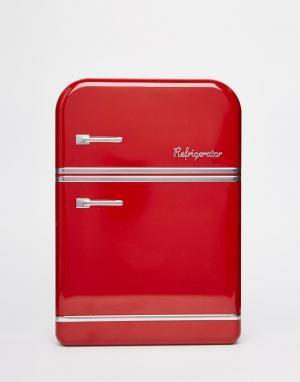 Temerity Jones Красная жестяная коробка для завтрака в виде холодильника Jon. Цвет: мульти