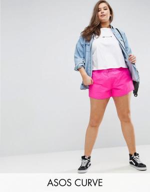 ASOS Curve Спортивные шорты с асимметричным краем. Цвет: розовый