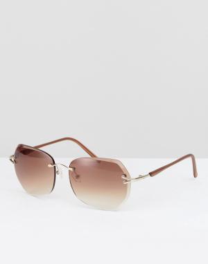 Reclaimed Vintage Круглые солнцезащитные очки в коричневой оправе. Цвет: черный
