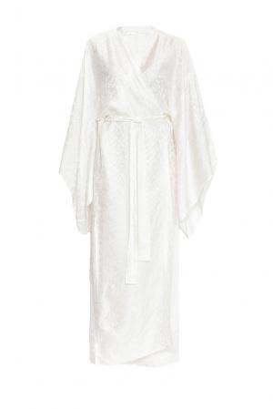 Халат из шелка с поясом 149425 Shams. Цвет: белый