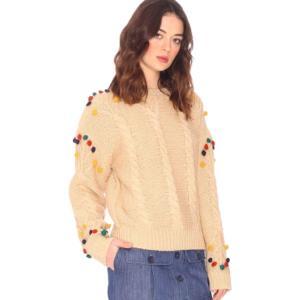 Пуловер из плотного трикотажа с круглым вырезом PEPALOVES. Цвет: бежевый