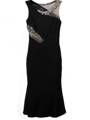 Декорированное облегающее платье Marchesa Notte. Цвет: чёрный