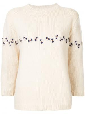 Flower embroidered jumper Jupe By Jackie. Цвет: телесный