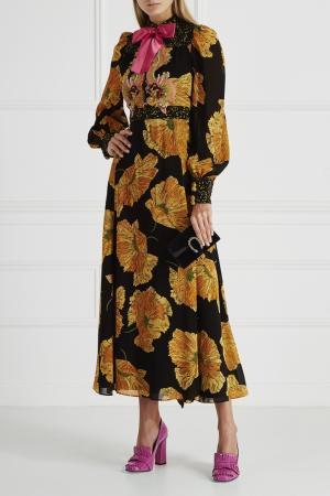 Платье с принтом Gucci. Цвет: черный, желтый
