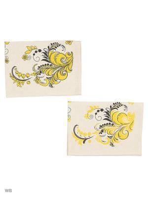 Полотенце льняное Хохлома золотой GrandStyle. Цвет: серый, золотистый