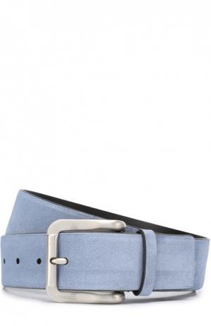 Замшевый ремень с металлической пряжкой A. Testoni. Цвет: голубой