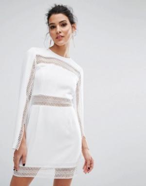Keepsake Платье мини с длинными рукавами Do It Right. Цвет: белый