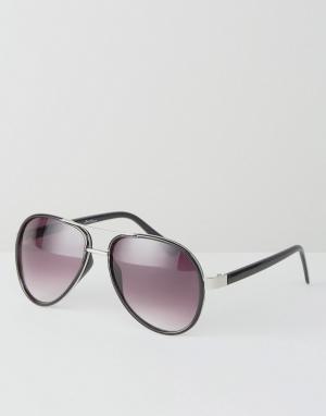 Jeepers Peepers Черные солнцезащитные очки-авиаторы в золотистой оправе Peeper. Цвет: черный