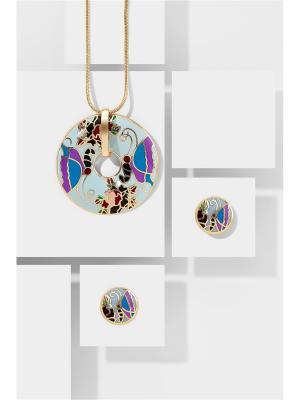 Набор украшений Папиллон: цепочка с кулоном и серьги Nothing but Love. Цвет: синий, фиолетовый, черный