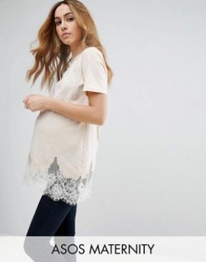ASOS Maternity Удлиненная футболка для беременных. Цвет: розовый