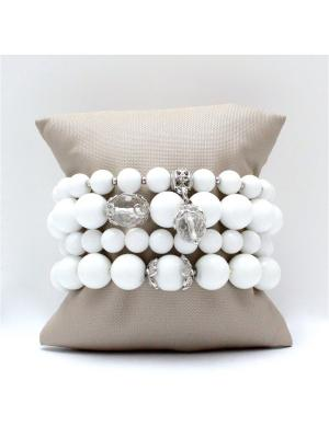 Комплект Blanc из 4-х браслетов белого агата и горного хрусталя Магазин. Цвет: светло-бежевый,бежевый,молочный,белый