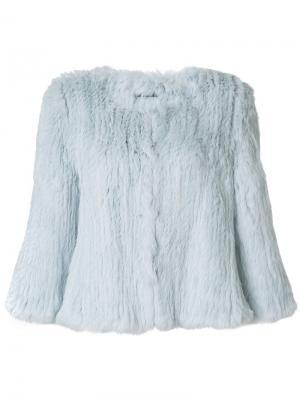 Укороченная куртка Yves Salomon Accessories. Цвет: синий