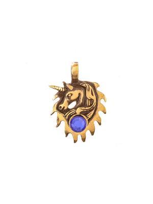 Амулет защитный Единорог Aztek. Цвет: желтый