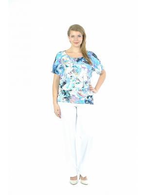 Блузка Forus. Цвет: голубой, сиреневый, белый