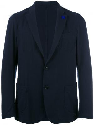 Блейзер с накладными карманами Lardini. Цвет: синий