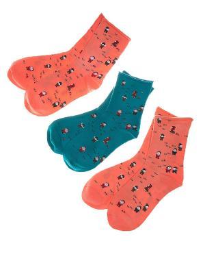 Набор носочков Гномики 3 пары Pretty Mania. Цвет: розовый, горчичный, серый