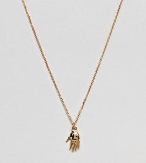 ASOS Серебряное позолоченное ожерелье с подвеской DESIGN. Цвет: золотой