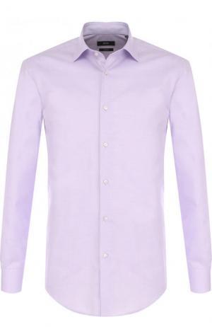 Хлопковая сорочка с воротником кент BOSS. Цвет: светло-сиреневый