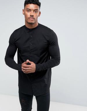 SikSilk Черная обтягивающая рубашка с трикотажными рукавами. Цвет: черный
