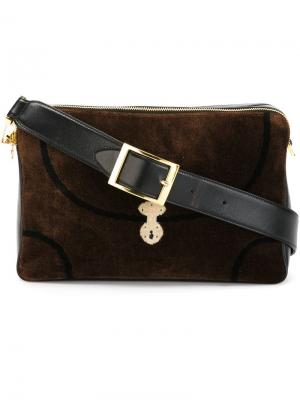 Бархатная сумка на плечо  Roberta Di Camerino Vintage. Цвет: коричневый