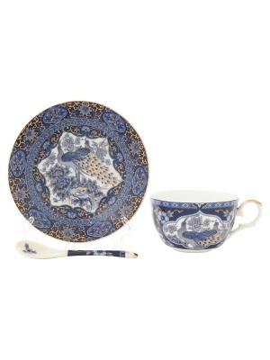 Чайная пара Павлин синий Elan Gallery. Цвет: белый, синий