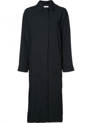 Пальто с глубоким разрезом сзади Nomia. Цвет: синий