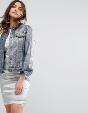 Liquor N Poker Джинсовая куртка с эффектом металлик. Цвет: синий