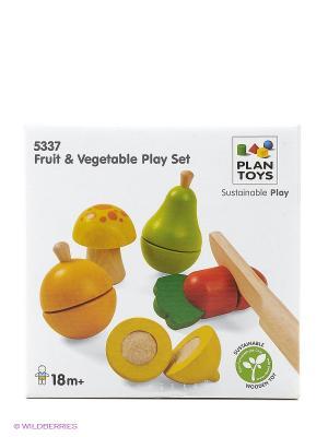 Набор фруктов и овощей PLAN TOYS. Цвет: бежевый, желтый, зеленый, красный